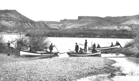 Second Powell Expedition, party in boat ready to start and departing from Green River, WY. Photo courtesy of Grand Canyon National Park.